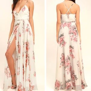Lulu's Elegantly Inclined Maxi Wrap Dress